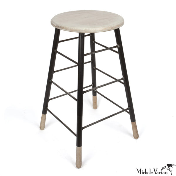 Lattice Stool White Wash Oak with Black Metal Legs