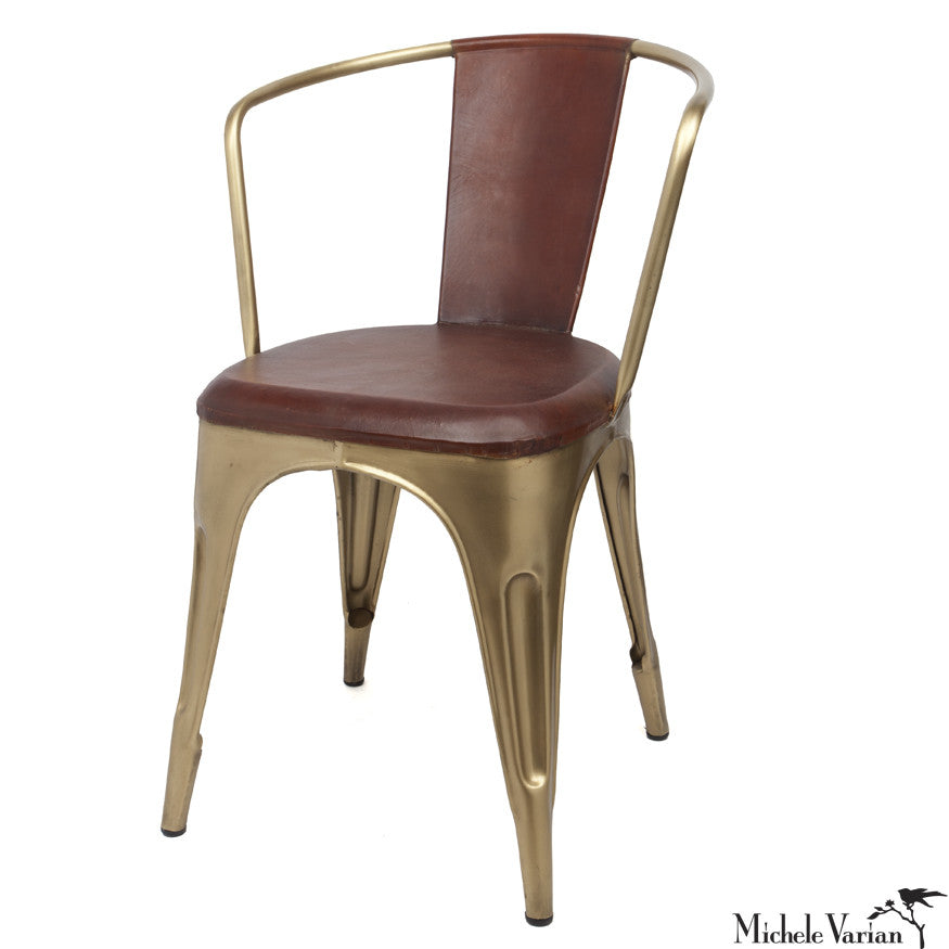 Leather and Brass Finish Bistro Chair