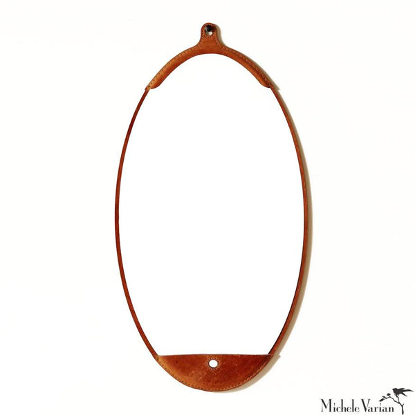 Leather Long Oval Mirror