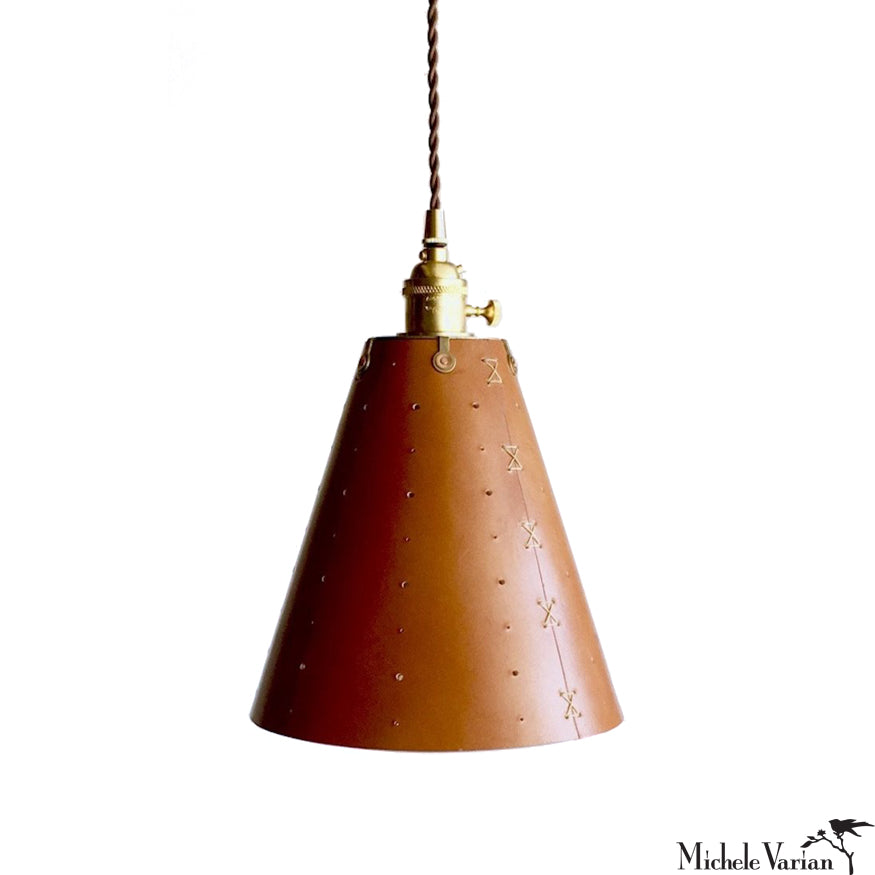 Tapered Leather Cone Pendant