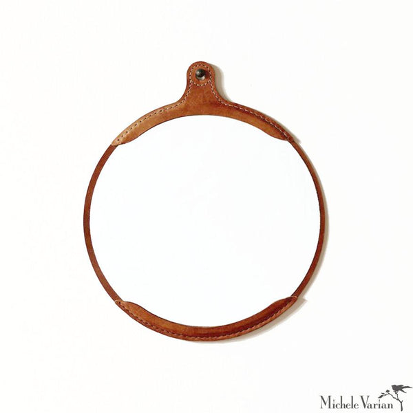 Leather Round Mirror