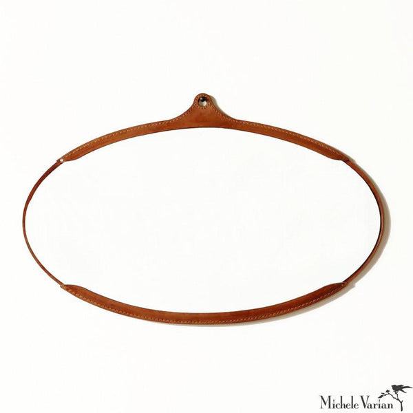 Leather Wide Oval Mirror
