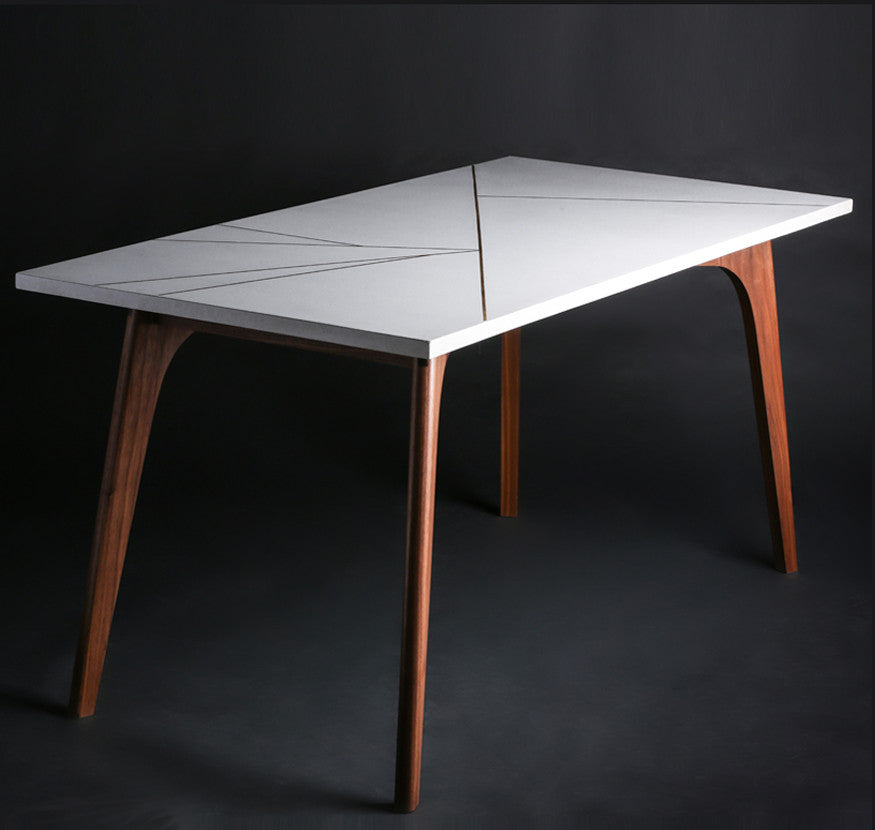 Concrete and Wood Table with Brass Inlay