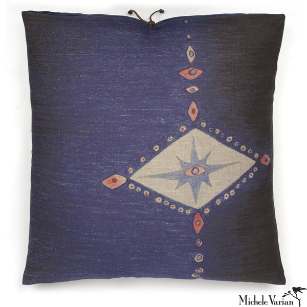 Printed Linen Pillow Multi Spear Indigo 22x22