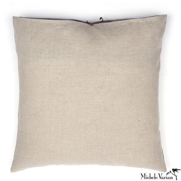 Printed Linen Pillow Grid Petrol 24x24