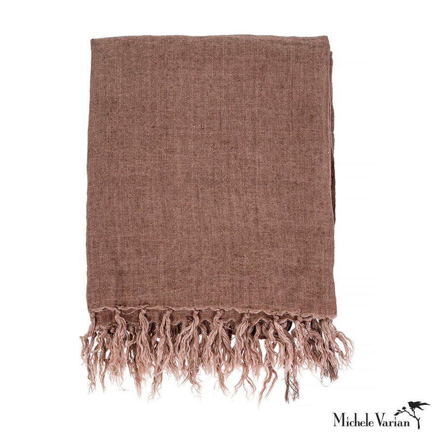 Linen Throw Chocolate