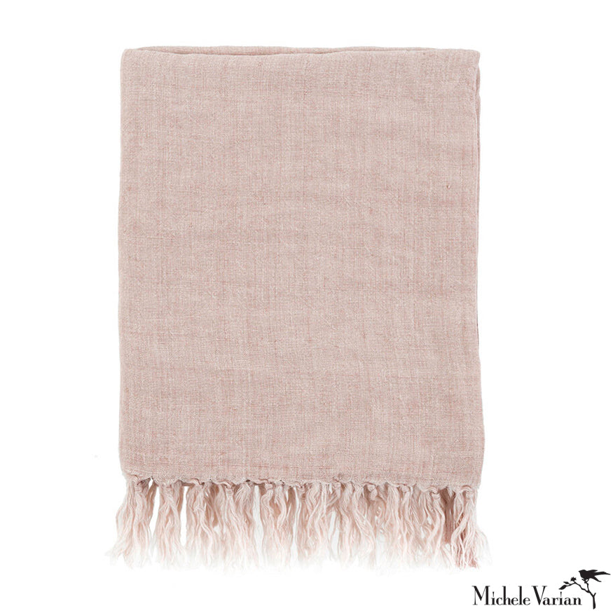 Linen Throw Dusty Rose