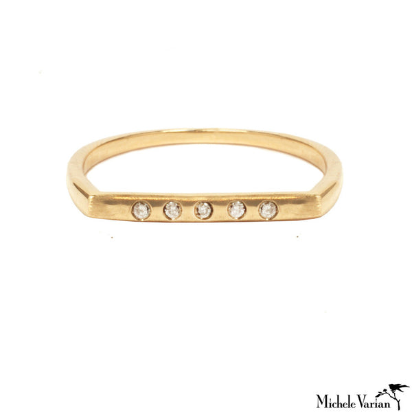 Line of Diamonds Gold Ring
