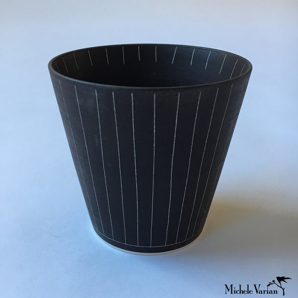 Japanese Sabi Vertical Line Ceramic Tea Cup