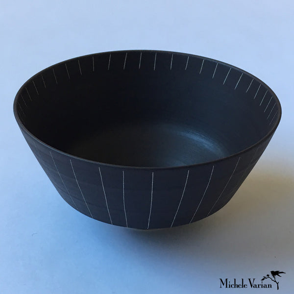 Japanese Sabi Vertical Line Ceramic Rice Bowl