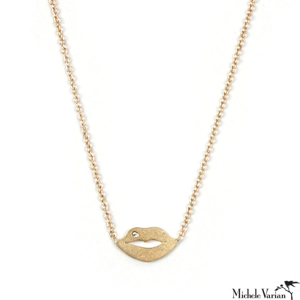Tiny Lips and Diamond Gold Necklace