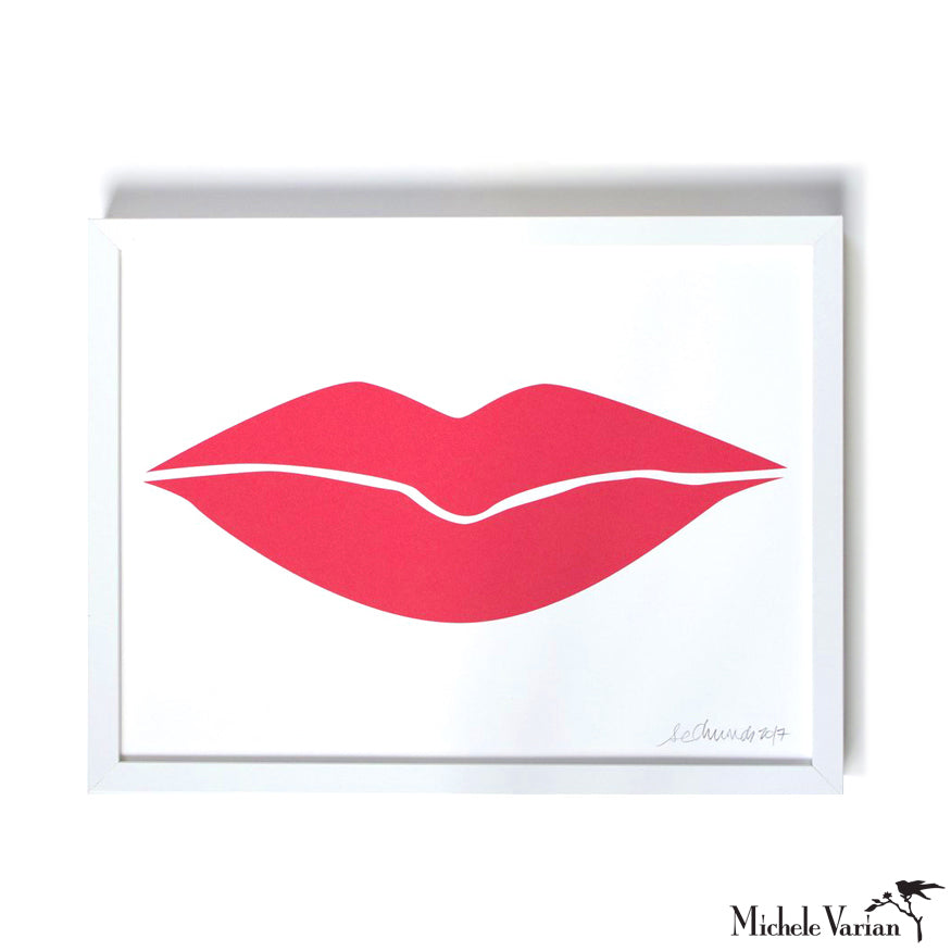 Hot Lips Silkscreen Print Art Framed or Unframed