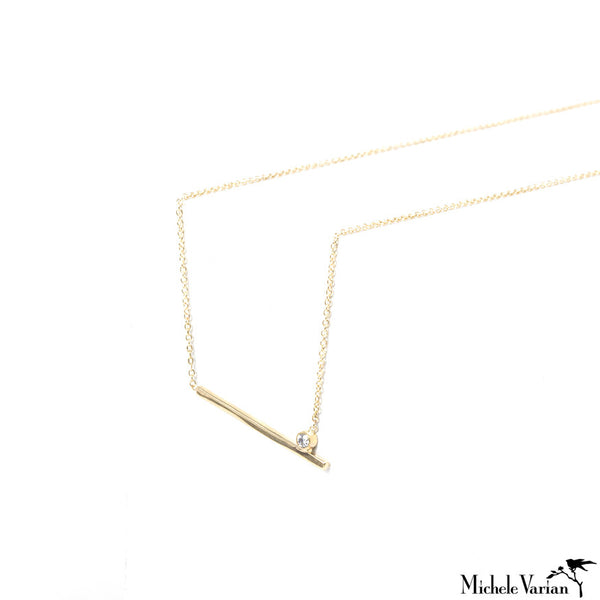 Gold Simple Bar and Diamond Necklace