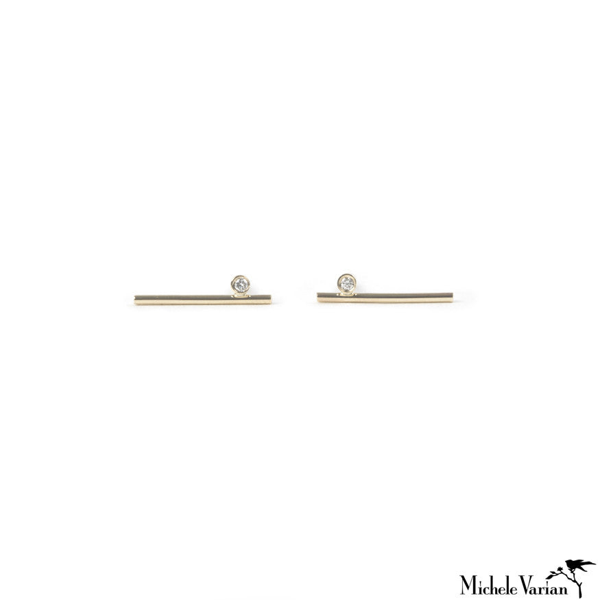 Simple Gold and Diamond Bar Stud Earring