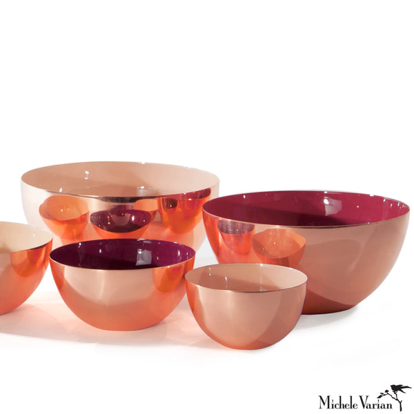 Copper with Color Enamel Stacking Bowls