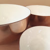 Copper and White Enamel Stacking Bowls in White