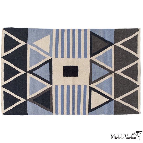 Blue Triangle Wool Area Rug 2' x 3'
