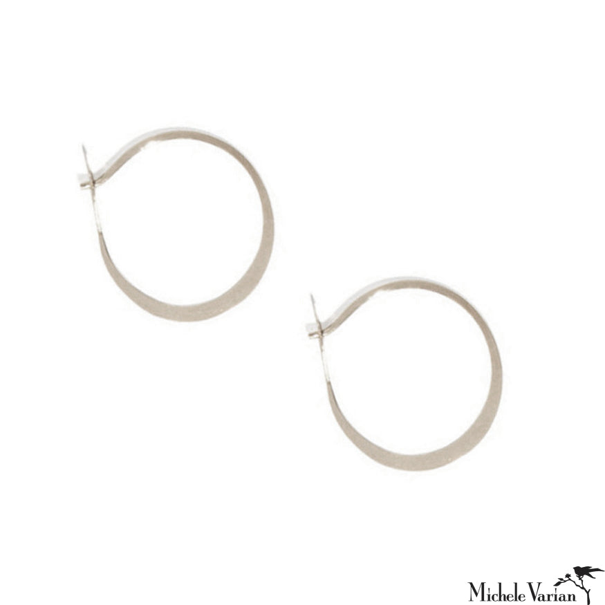 Medium Round Fordged Sterling Silver Hoops