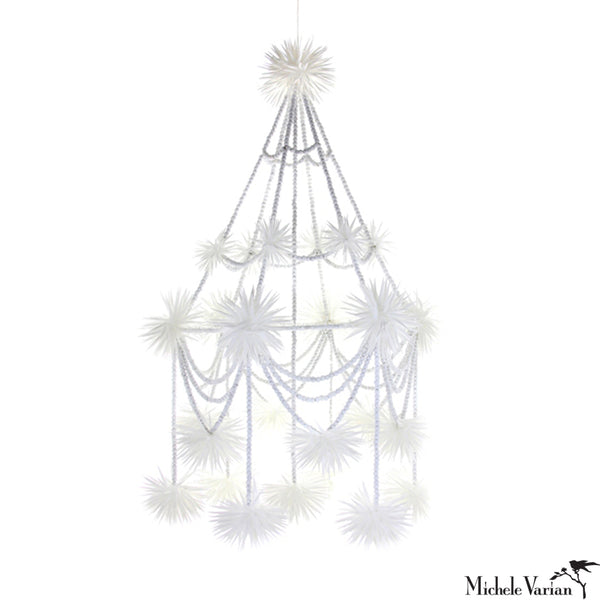 White Beaded Pajaka Chandelier