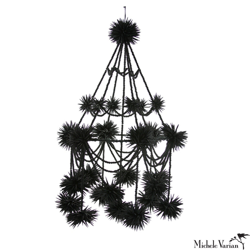 Black Beaded Pajaka Chandelier