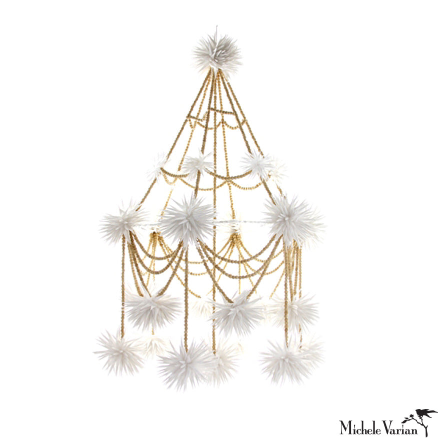White with Wood Beads Pajaka Chandelier