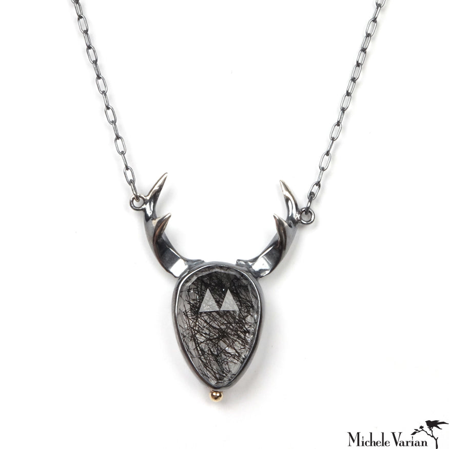 Rutilated Quartz Antler Necklace