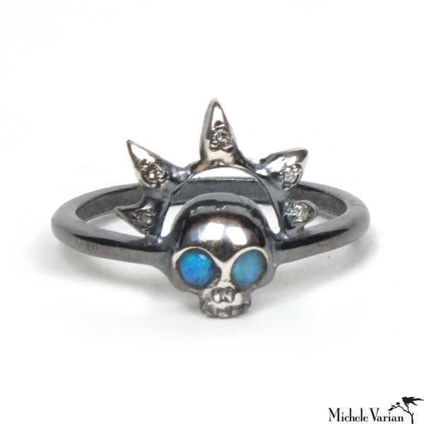 Skull with Diamond Halo Silver Ring