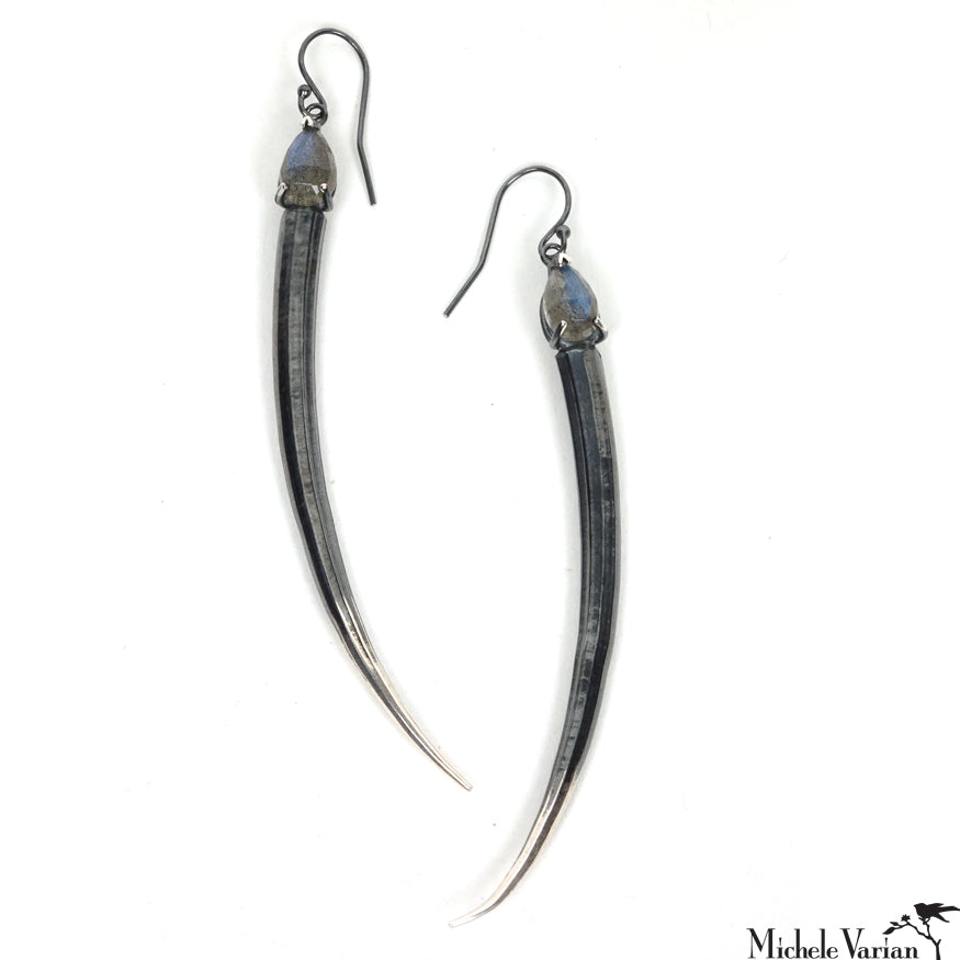 Silver Tusk Earrings with Labradorite