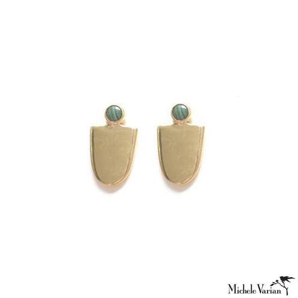 Brass U Shield and Turquoise Stud Earrings