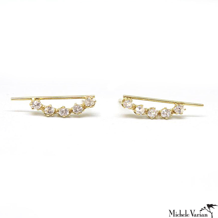 White Sapphire Gold Magic Line Stud Earrings