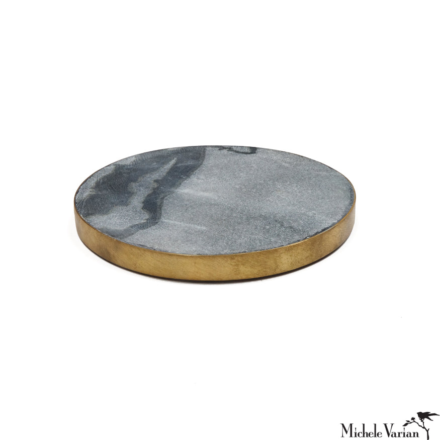 Brass Edged Marble Coasters