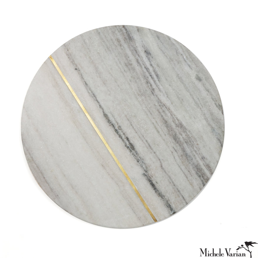 Round Marble Board with Brass Inlay