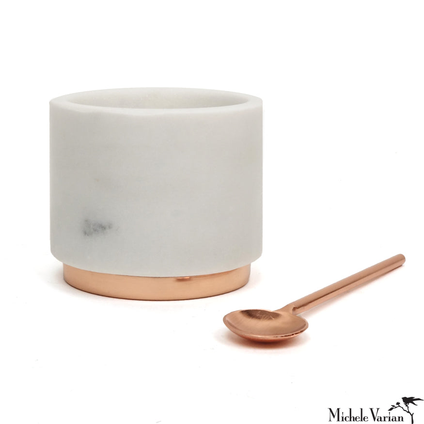 Marble and Copper Salt Cellar with Copper Spoon