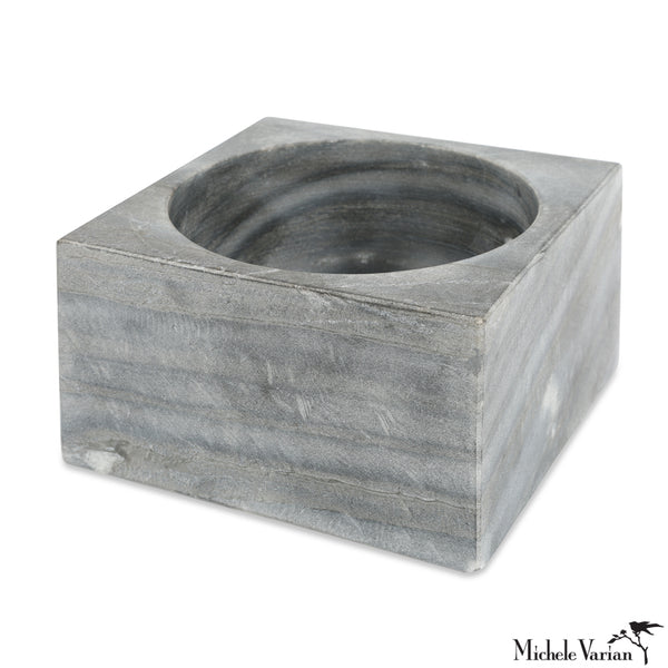 Gray Marble Modernist Bowl Large