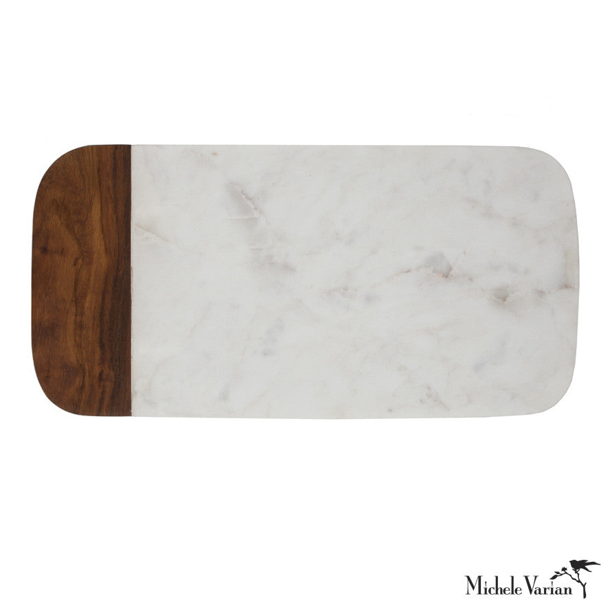 Marble and Wood Cheese Board Long