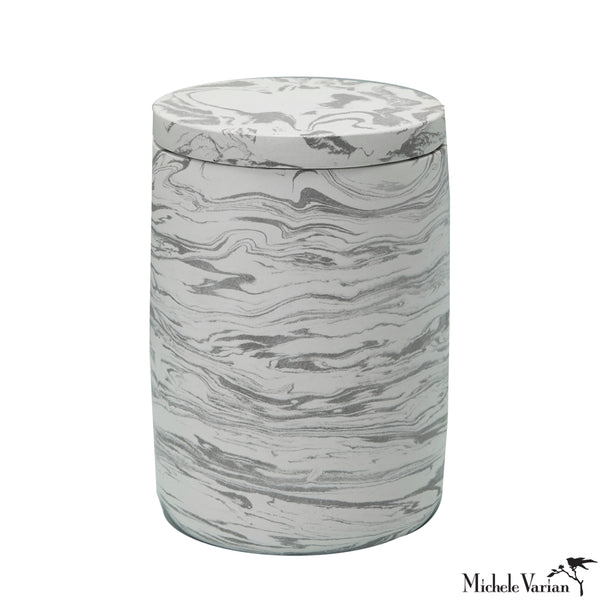 Grey Marbled Cement Bath Canister