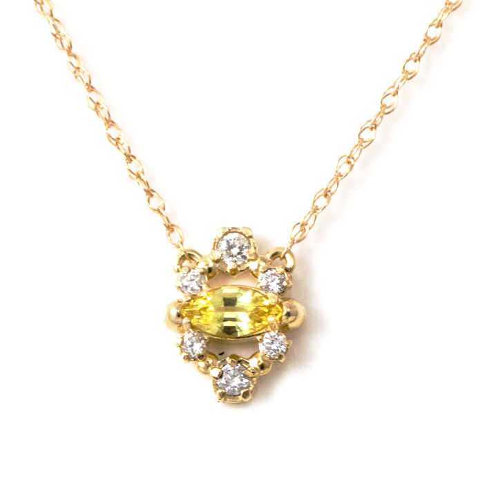 Yellow Sapphire Marquise Necklace