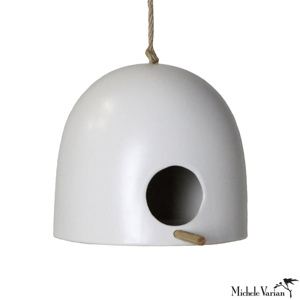 Small Matte White Ceramic Birdhouse