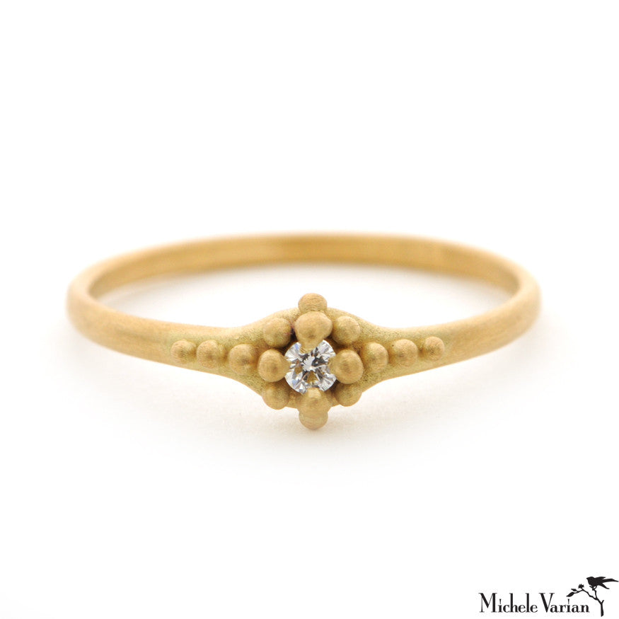 Gold Diamond Ring with Beading