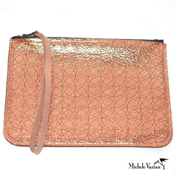 Metallic Leather Pouch- Copper