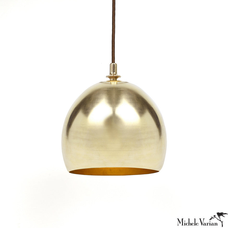 Finial Dome Pendant Lamp in Brass