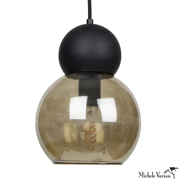 Black Double Bubble Light Fixture 8 inch