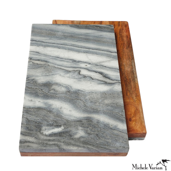 Gray Marble and Wood Reversible Board