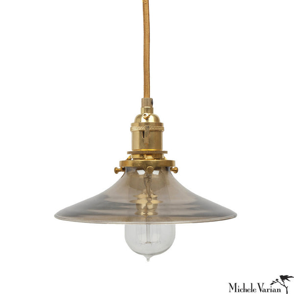 DISCONTINUED Smoke Glass Shade Pendant Light in Brass