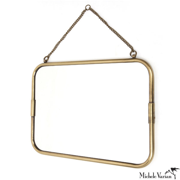 Brass Frame Mirror Horizontal Large