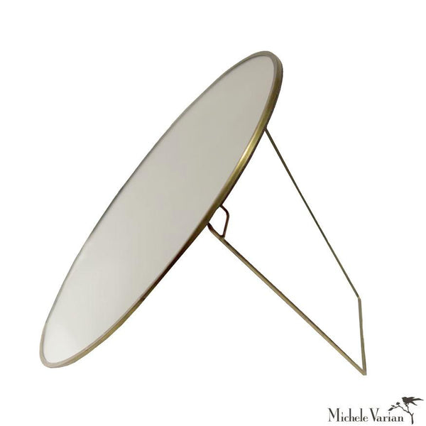Large Brass Round Mirror with Stand