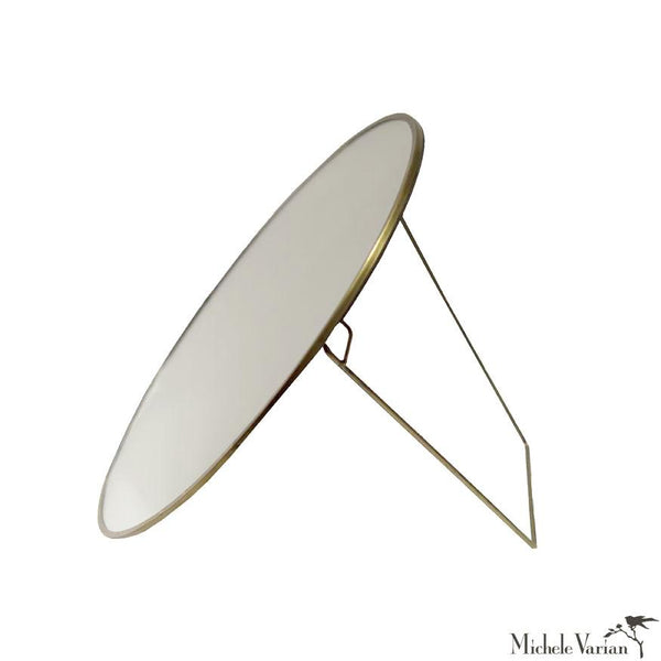 Small Brass Round Mirror with Stand