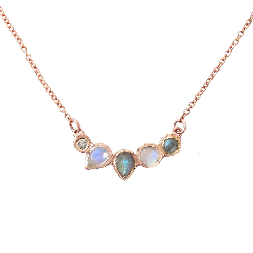 Moonstone Labradorite Diamond Necklace