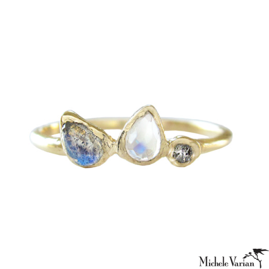 Moonstone and Grey Diamond Ring