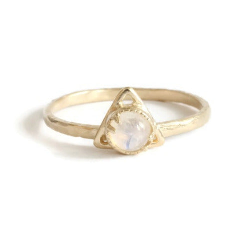 Small Traingle Moon Stone Gold Ring
